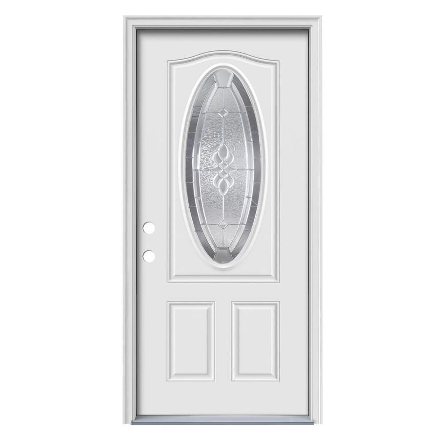 36 Entry Door Right Hand In-swing Oval Lite Decorative Glass frame